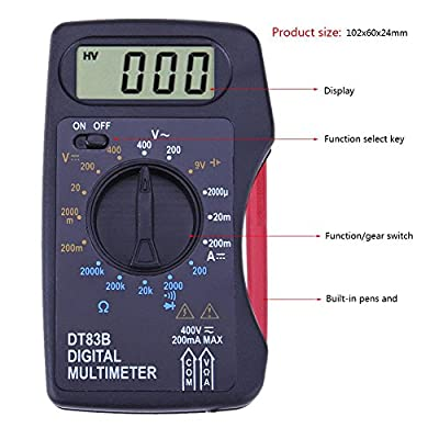 Childplaymate Portable Digital Multimeter Mini Pocket Ammeter Voltmeter Ohm Meter