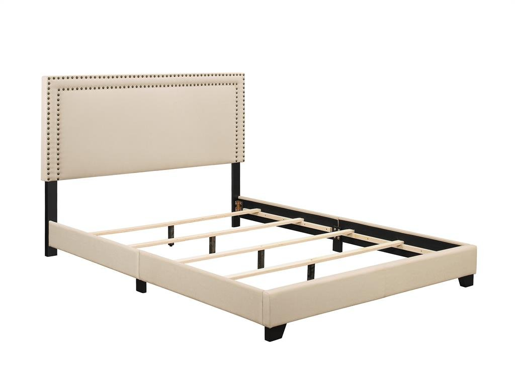 Upholstered Bed with Nailhead Trim