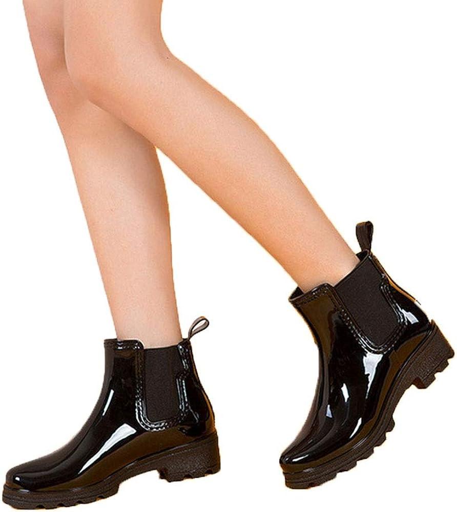 FXNN Rain Boots Short Tube Elastic Shoes Non-Slip rain Boots Rubber Shoes