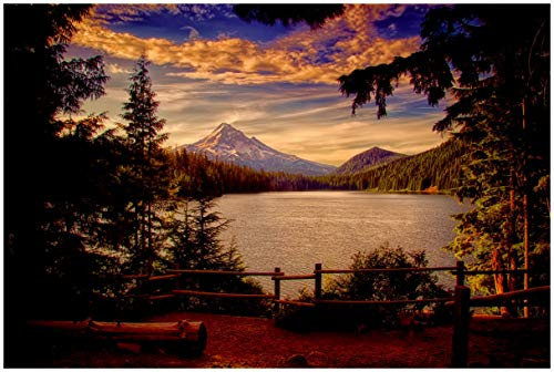 Mt Hood Lost Lake, Oregon Travel Art Print Poster by Nicholas Bielemeier (24