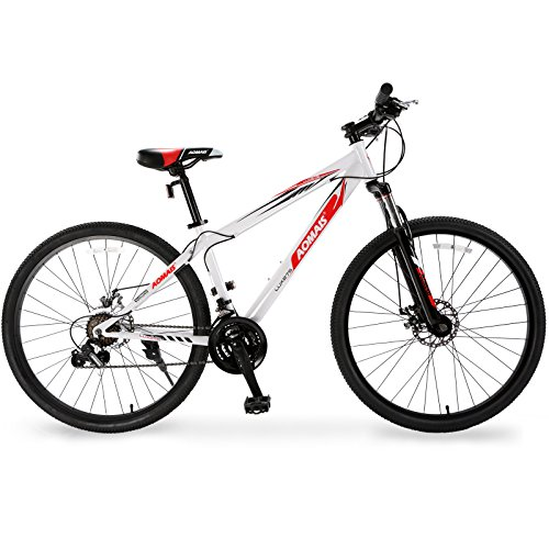 Murtisol Mountain Bike 27.5'' Hybrid Bicycle 21 Speed with Suspension/Dual Disc Brake,White Black