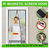 MONOLED Magnetic Screen Door, Screen Door, Durable Hands- Free Door Mesh Curtain with Full Frame Seal, Fits Door Size Up to 35