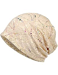 Womens Cotton Beanie Lace Turban Soft Sleep Cap Chemo Hats Fashion Slouchy Hat