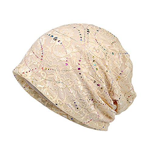 (Cotton Chemo Caps for Women Soft Nightcap Slouchy Beanie Hats for Hairloss Beige)
