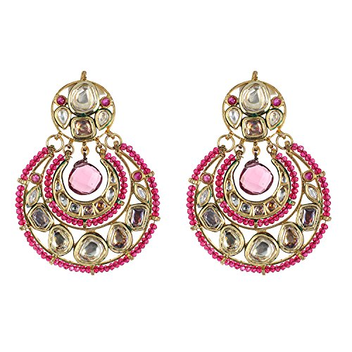 Be You Elegant White Colour Kundan Meena Work Rhodium Plated Brass Chandelier Earring for Women (Chand Plated Brass)
