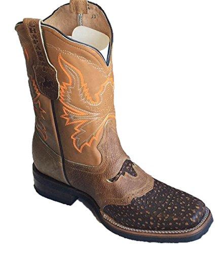 Män Cowboy Stövlar Äkta Kohud Läder Krokodil Print Rodeo Stövlar Tan