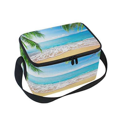 Use4 Tropical Palm Tree Sea Beach Sand Insulated Lunch Bag Tote Bag Cooler Lunchbox ()