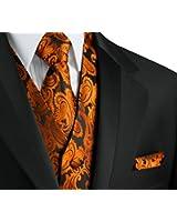 Italian Design, Men's Tuxedo Vest, Tie & Hankie Set in Burnt Orange Paisley