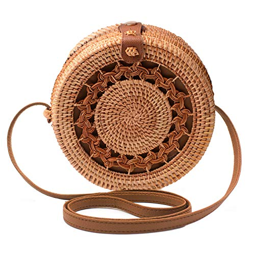 Handwoven Round Rattan Bag Shoulder Leather Straps Natural Chic Hand Gyryp (Leather buttons(wreath))