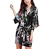ZANZEA Women's Silk Short Robe Loose Peacock Kimono Retro Babydoll+Belt