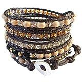 LUN NA Bracelet Women Brown Black Crystal Brass White Wood Beads 5 Wrap Adjuastable