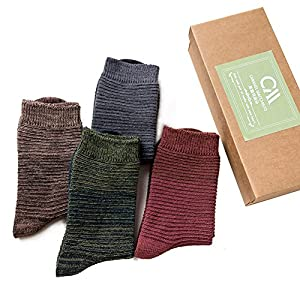 HaloVa Men's Socks, Long Cotton Dress Socks Crew Sock for Men Boys, Horizontal Stripe, 4 Pairs