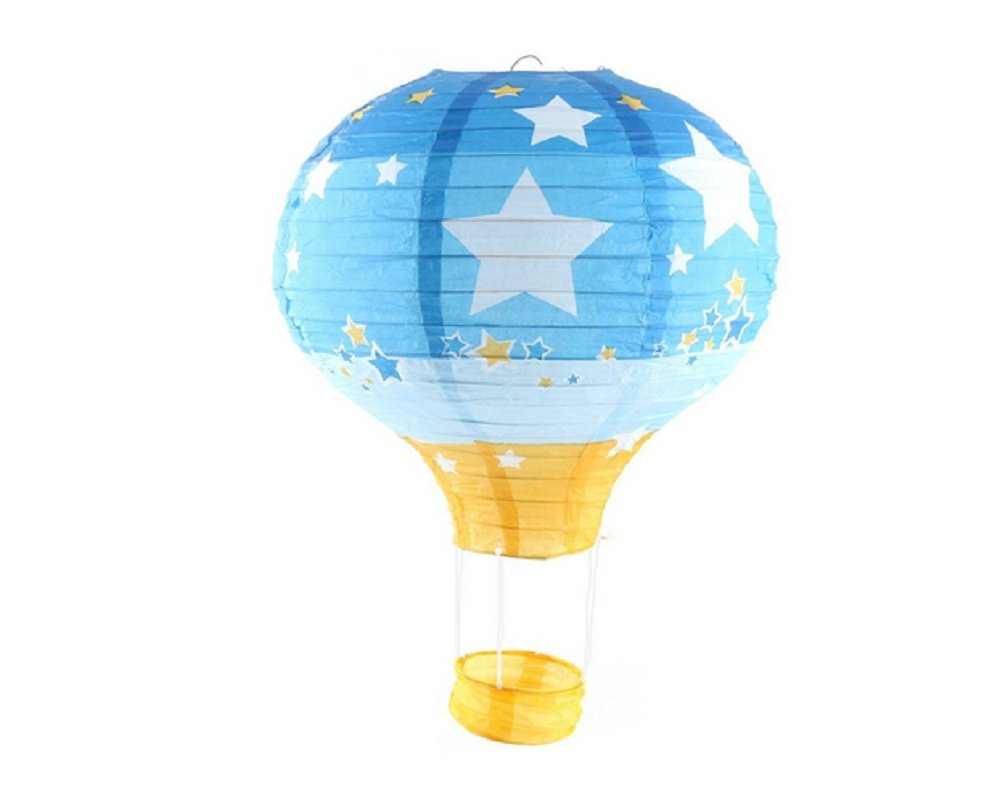 Pack of 3 Hot Air Balloon Paper Lantern Wedding Party Decoration Craft Lamp Shade (Star Blue, 16'' (40CM))