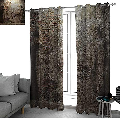 - Benmo House Sculptures Decor Collection Fade Resistant Polyester Microfiber Antique Women Sculptures on Concrete Cement Wall Damaged History Interior Style Curtain Panels Ivory Beige W120 x L84 Inch