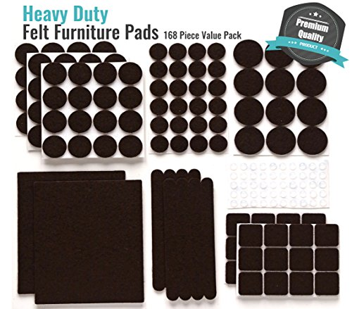 PREMIUM Furniture Pads Set 168 Pcs Value Pack Brown - Heavy Duty Adhesive Felt Pads for Furniture Feet, Assorted Sizes with Noise Dampening Rubber Bumpers. Floor Protectors for Hardwood & Laminate by Gossip (Image #1)