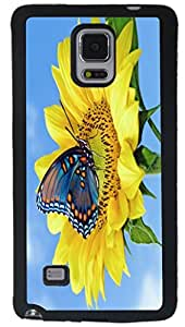 Rikki KnightTM Blue Butterfly on Sunflower Design Samsung? Galaxy Note 4 Case Cover (Black Rubber with front Bumper Protection) for Samsung Galaxy Note 4