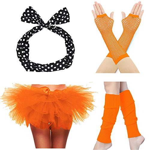 ZeroShop 80s Accessories for Womens, Tutu Skirt,Headband,Fishnet Gloves & Leg Warmers (Women, (Orange Tutu With Headband)