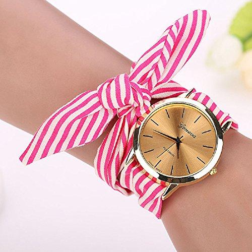 Malltop Elegant Women Floral Stripe Cloth Bracelet Mineral Glass Dial Window Quartz Analog Wrist Watch (Hot ()