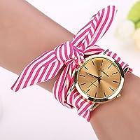 malltop elegante mujeres floral Stripe Gamuza Ventana de vidrio mineral pulsera Dial reloj de muñeca analógico de cuarzo, Retro, Hot Pink