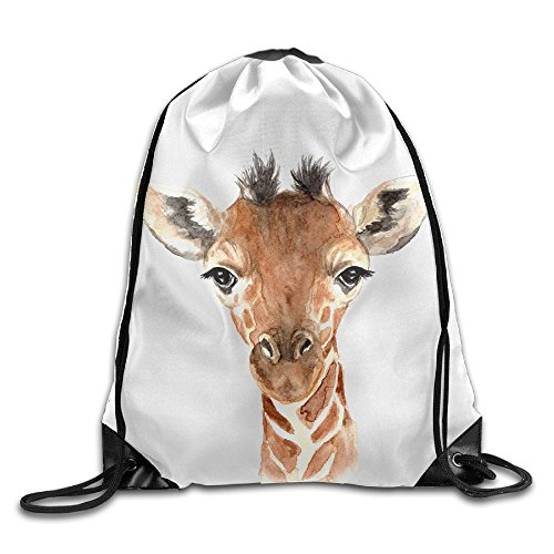 Animal Watercolor Prints Giraffe Packable Print Drawstring Bags Travel Backpack Gym Bags For Gift