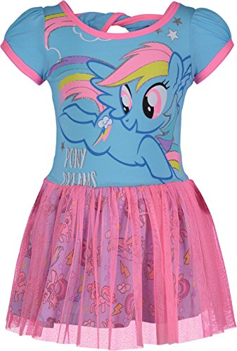 Wing Pony Little - My Little Pony Toddler Girls' Tulle Dress Rainbow Dash, Blue and Pink (3T)