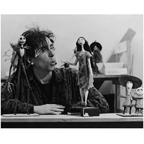 Tim Burton on Set Whistling to Jack Skellington and Sally 8 x 10 Photo ()
