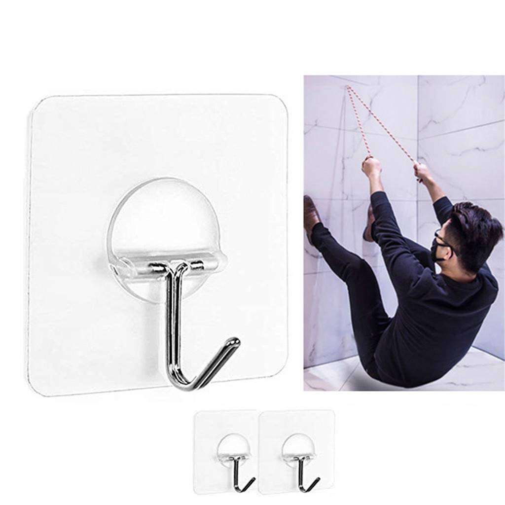 Pet1997 2pcs Non-slip Transparent Seamless Wall Hook Anti-skid Hooks Reusable Traceless Wall Hanging Hooks, Sticky Wall Hangers Self Adhesive Hooks Metal Utility Hanging Hooks Storage (White)