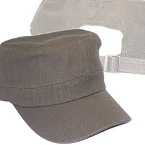 Castro Cadet Military Style Army Hat Cap Brown 100% Cotton