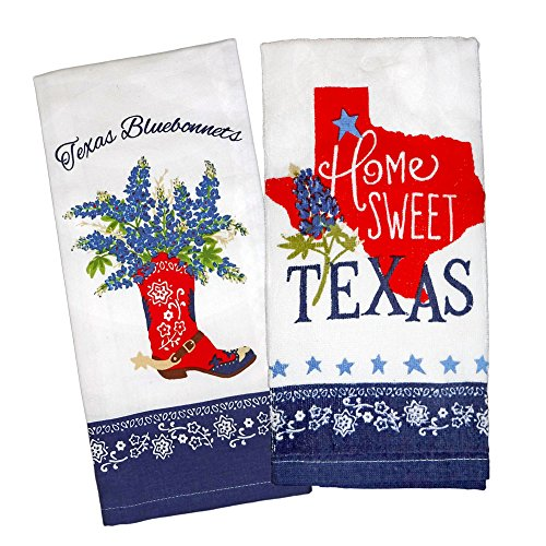 Kay Dee Designs Home Sweet Texas Bluebonnets Tea Towel and Cotton Terry Dishtowel (2 Item Bundle)