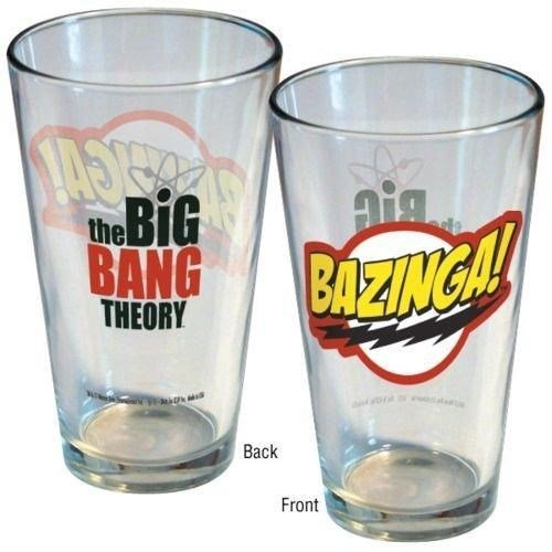 ICUP Big Bang Theory -TV Sitcom ''Bazinga!'' Logo 16oz. Clear Pint Glass