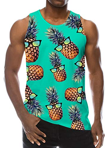 Loveternal Mens Funny Pineapple Graphic Tank Tops Dad Novelty Gym Green Workout Graphic Tee Hawaiian Summer Vacation Tank Tops 80s Sleeveless Rave Underwaist for Men Blue XXL