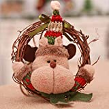 YJB Knitted Hat Brown Elk Handcrafted Rattan Lint Christmas Wreath Garland Christmas Hanging Accessories Indoor Home Party Decoration for Mantel Fireplace Window Door 6.3'' X 6.3''(1 PC)