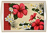 "Large Decorative Wood Serving Tray W/handles, 19.75"" X 13.5""2.5'', Hibiscus Blossom Cream White Tray, Neutral Color, Red and White Floral, Decoupage, Classic Home Accent"