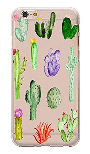 iPhone 7 , Colorful Rubber Flexible Silicone Case Bumper for Apple Clear Cover - Cactus Painting