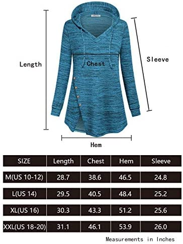 SeSe Code Women's Long Sleeve V Neck Pullover Tunic Hoodie Button Side Sweatshirt