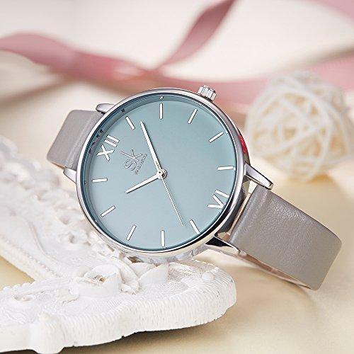 SK Women Watches Leather Band Luxury Quartz Watches Girls Ladies Wristwatch Relogio Feminino (Grey) by SK (Image #1)
