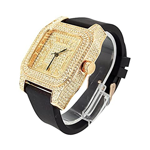 Rose Gold Finish Mens Fully Iced Out Techno Pave Joe Rodeo Lab Diamond Watch New (Iced Out Square Watch)