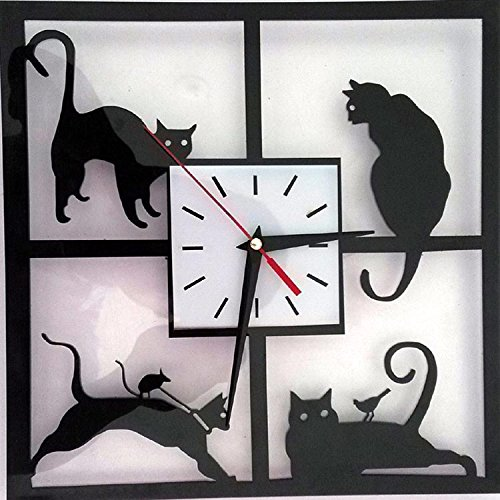 BYLE Silent Non Ticking Quality Quartz Battery Creative Stylish, Minimalist Modern Living Room Cartoon Cute Children'S Silence Home Decor Wall Clock, A Square Cat BYLE Wall Clock