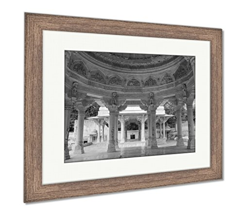 Ashley Framed Prints View of The Carved Dome at Royal Cenotaphs in Jaipur Rajasthan, Wall Art Home Decoration, Black/White, 34x40 (Frame Size), Rustic Barn Wood Frame, AG5963944