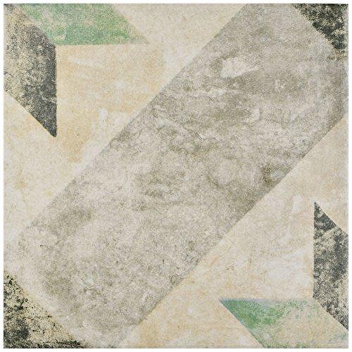 Green Glazed Porcelain - SomerTile FCD10PSG Vesuvius Star Porcelain Floor & Wall Tile, 9.75