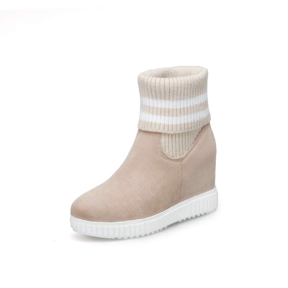 GLTER Women Fashion Snow Boots 2018 Autumn Heel Platform Knit Cotton Boots Size 33-43