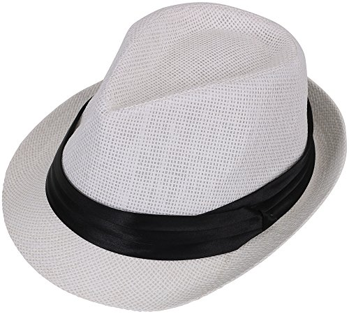 Simplicity Woven Trilby Short Brim Straw Fedora Hat White -