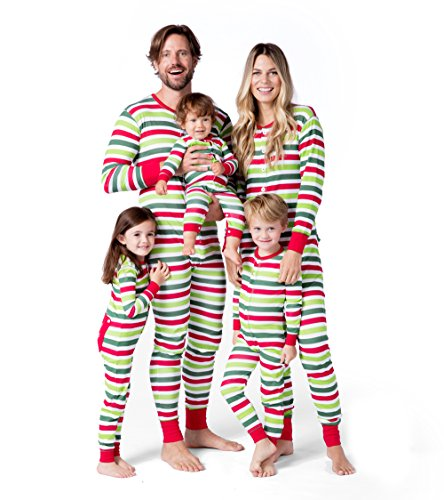 (Little Blue House by Hatley Women Little Family, Kid's Union Suit-Holiday Stripes, 2)