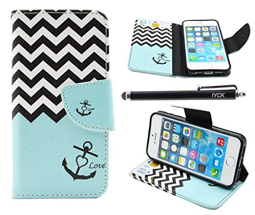 iPhone SE Case, iPhone 5S Case Wallet, iYCK Premium PU Leather Flip Folio Carrying Magnetic Closure Protective Shell Wallet Case Cover for iPhone 5/5S/SE/5SE with Kickstand Stand - Wavy Anchor