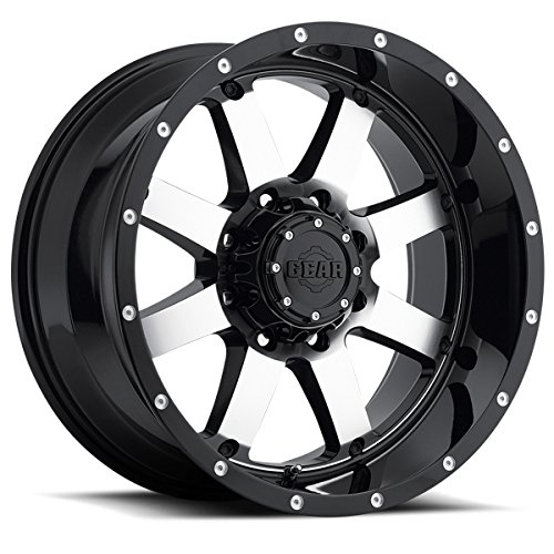 Gear Alloy Big Block (Gear Alloy 726M Big Block Black with Machined Face and Spot Milled Lip Accents Wheel with Machined Finish (17x9/6x135, -12mm Offset))