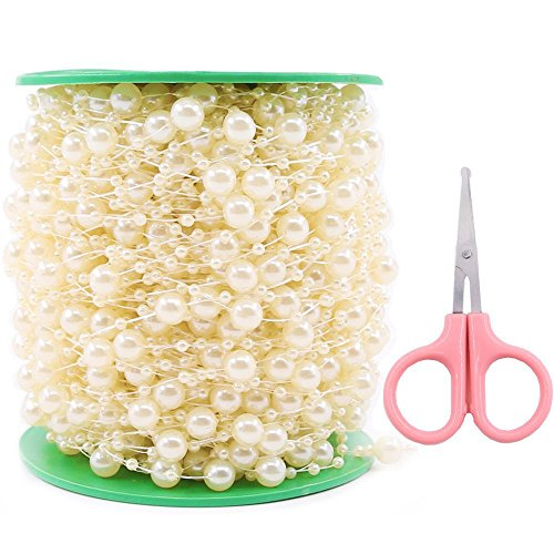 Swpeet 200 Feet Ivory Pearl Strands with Scissors, Large Pearls Faux Crystal Beads Pearl String Garland by The Roll Perfect for Wedding Party/Decoration/Party Supplies