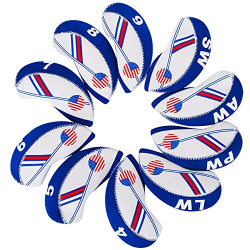 (HIFROM(TM Golf US Flag Neoprene Golf Club Head Cover Wedge Iron Protective Headcover for Most Brands White & Blue)