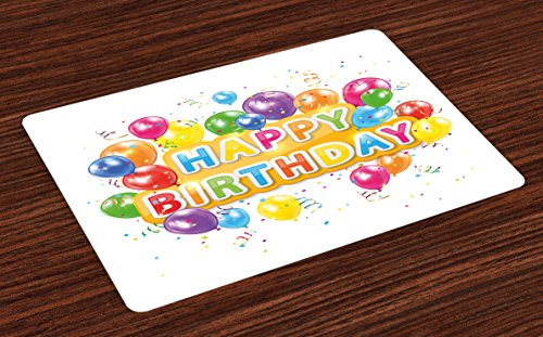 Ambesonne Birthday Place Mats Set of 4, Words Happy Birthday with Vivid Balloons Rain Blithesome Happy Day, Washable Fabric Placemats for Dining Room Kitchen Table Decor, Pale Orange