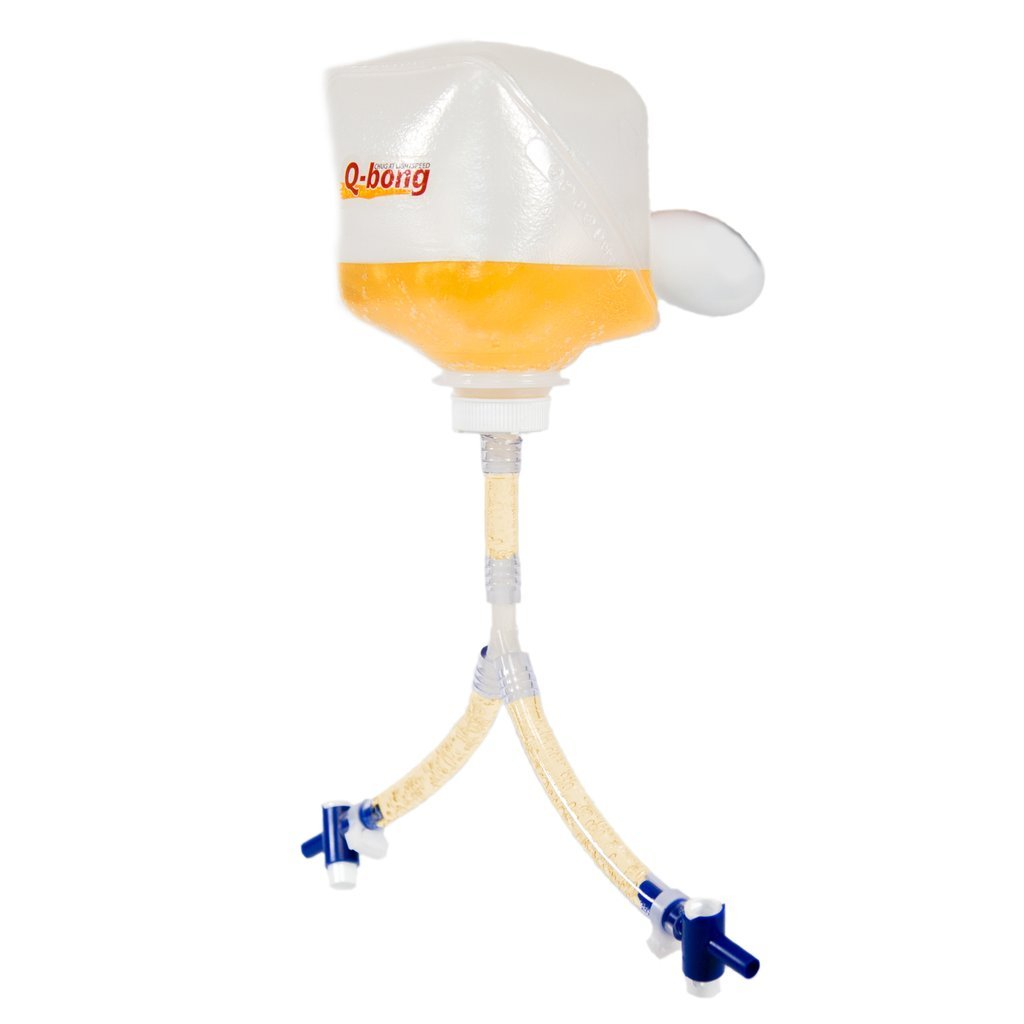 Q-bong Double Beer Bong - World's First Pressurized Double Beer Bong Funnel with easy to use valve - compact & explosive- Ideal for college drinking games, bachelor parties and gag gifts
