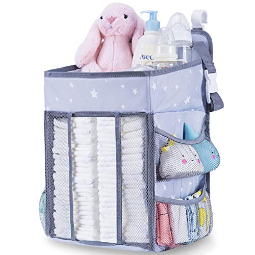 (Diaper Caddy Organizer for Changing Table | Hanging Diaper Stacker for Nursery Organization | Crib Side Organizer | Newborn Baby Shower Gifts Light Grey)